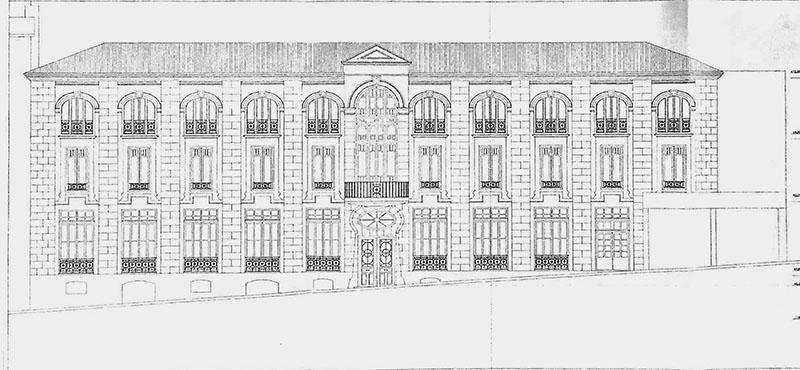 Frontón Astelena de Eibar. Plano fachada 1906. Eibarko Udala Artxiboa